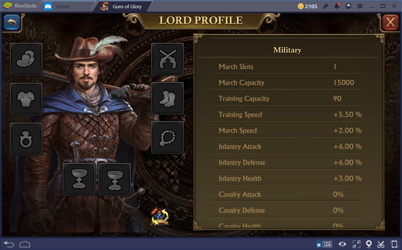 التعزيز مع مبنى الحرس في Guns of Glory على جهاز الكمبيوتر