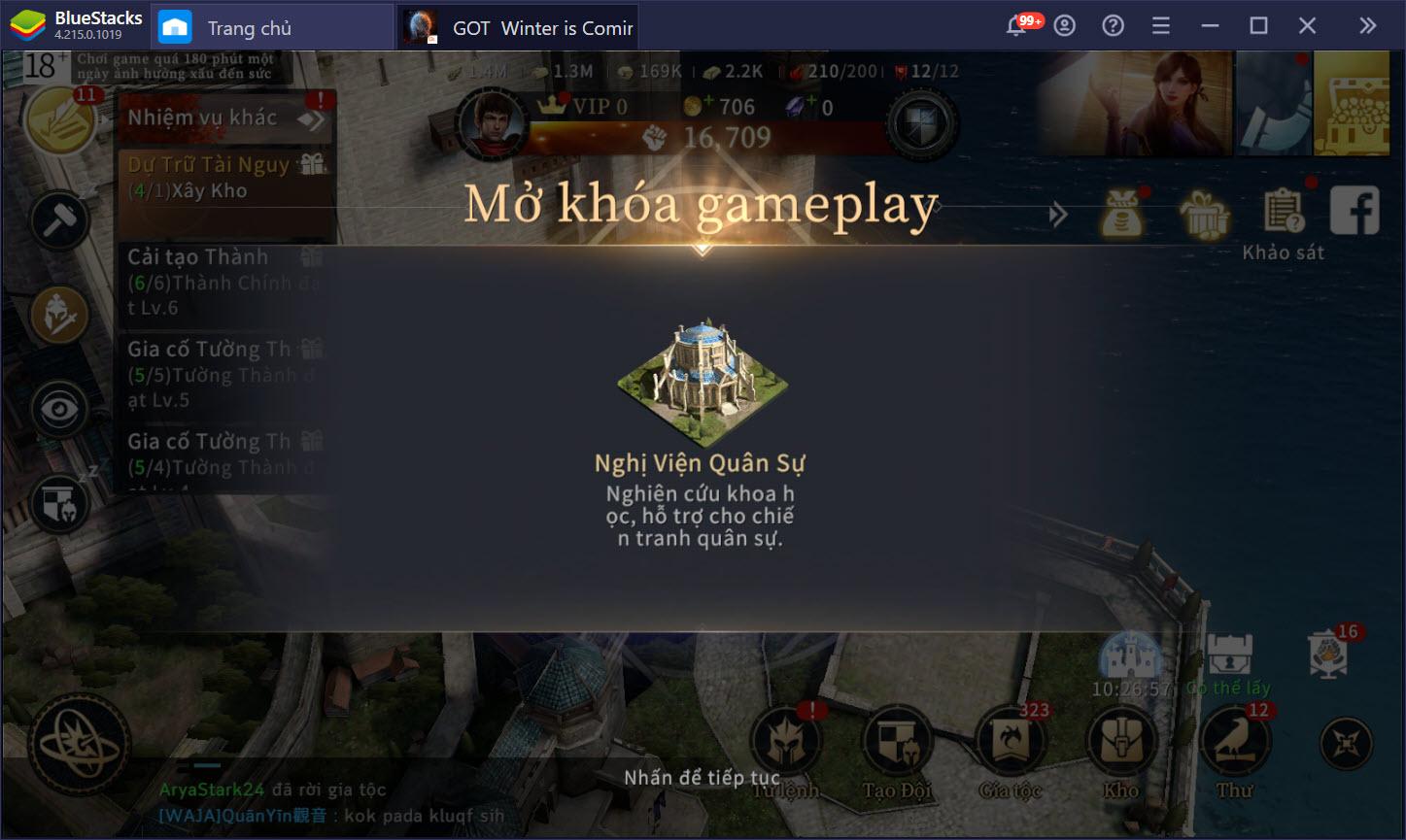 Cách phát triển khi chơi GOT: Winter is Coming M nhanh nhất