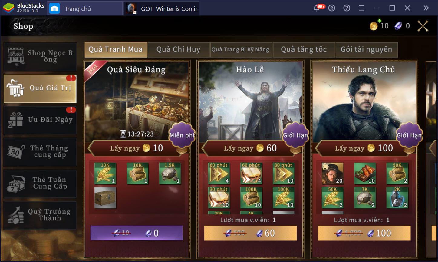 Hướng dẫn cách chơi cơ bản GOT: Winter is Coming M trên PC