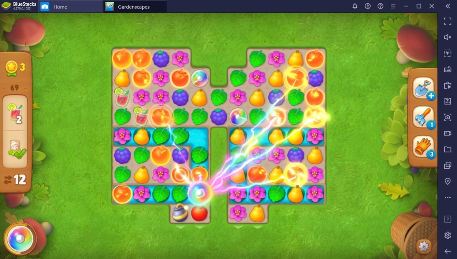 Gardenscapes – Geschickter Einsatz von Werkzeugen und Power-Ups