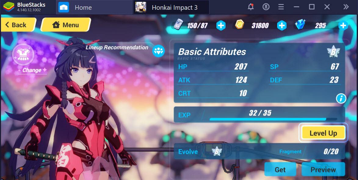 Mở khóa nhân vật, nâng cấp trang bị trong Honkai Impact 3