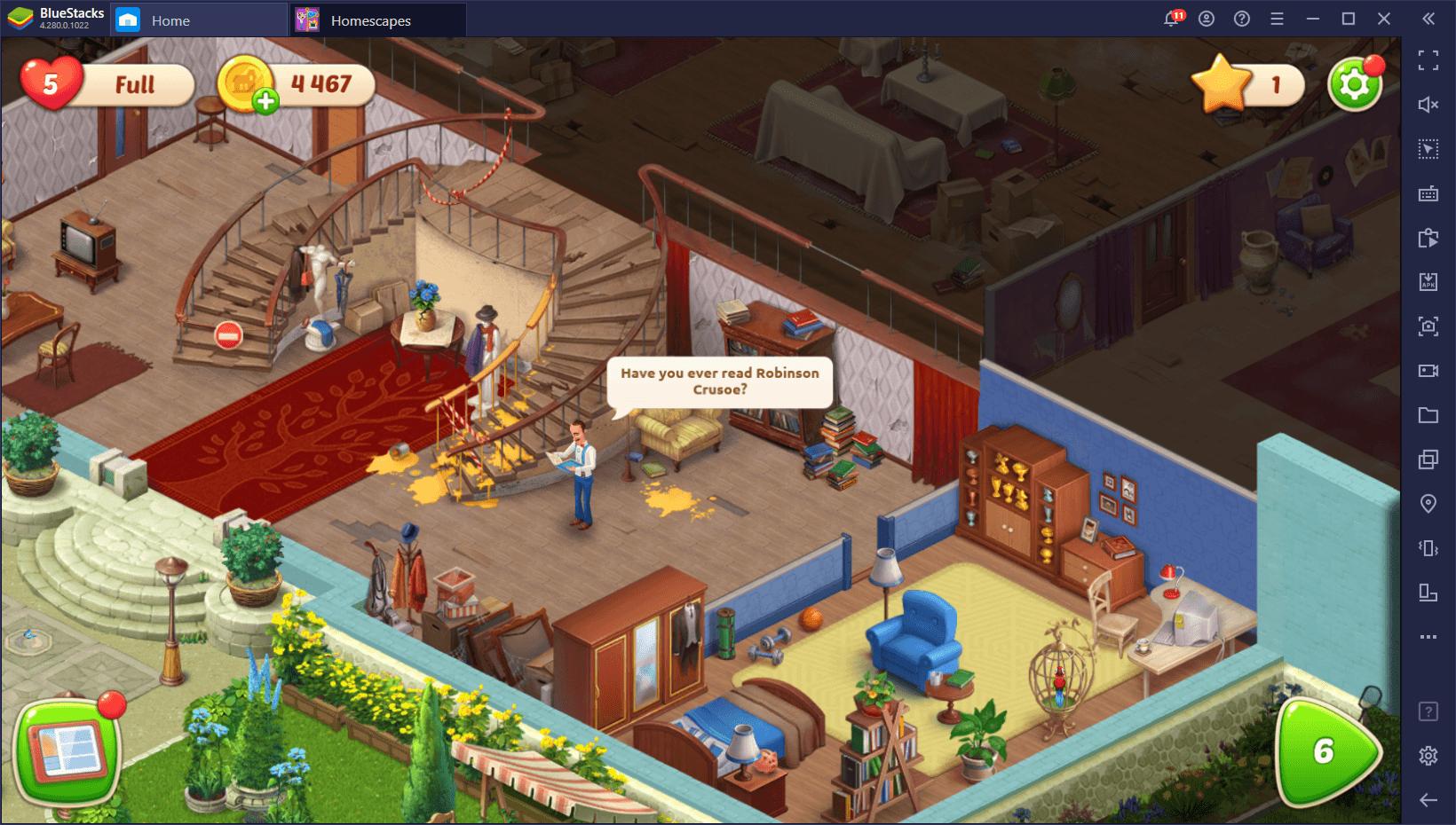 Homescapes – So verwendest du die BlueStacks-Funktionen in diesem 3-Gewinnt-Spiel