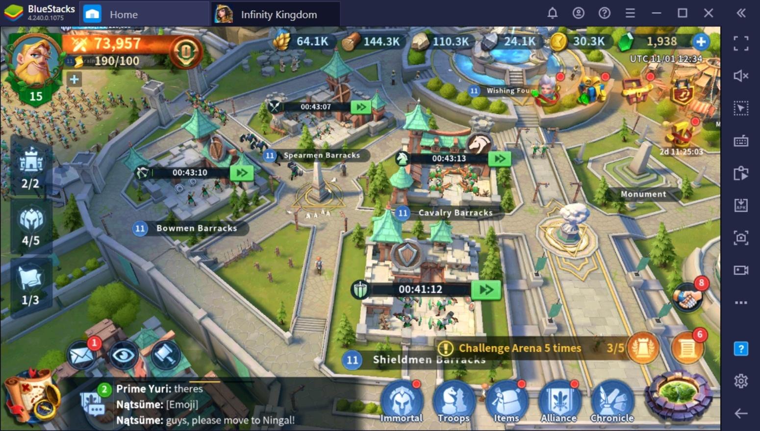 دليل المبتدئين لكي تبدأ باللعب في لعبة Infinity Kingdom على الكمبيوتر الشخصي