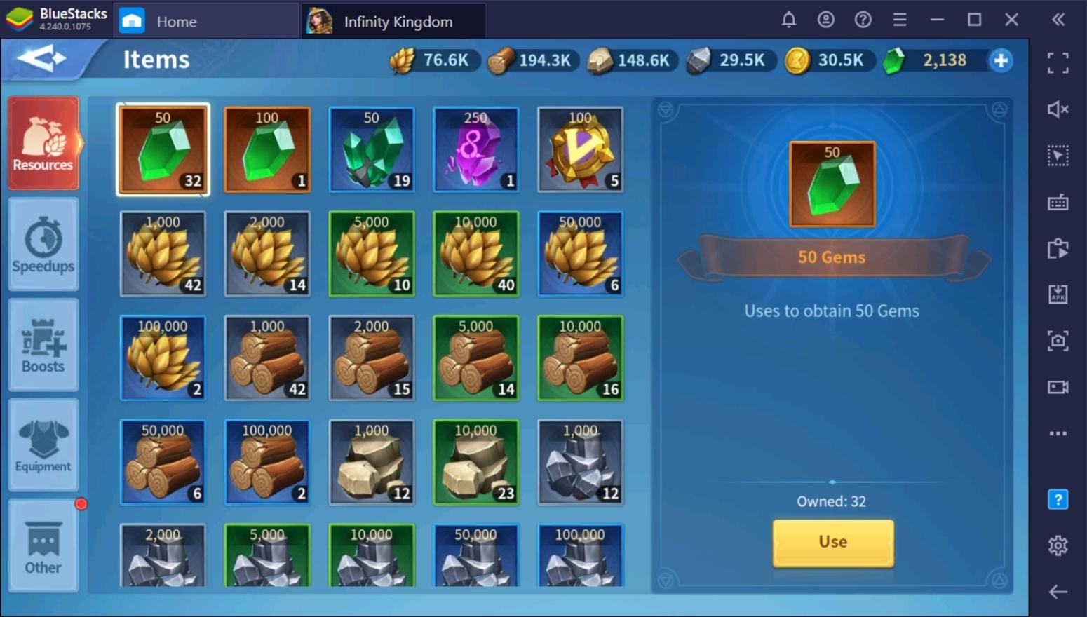 كيفية الحصول على المزيد من الموارد في لعبة Infinity Kingdom على جهاز الكمبيوتر