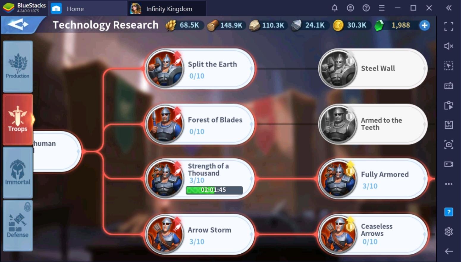 Die stärkste Armee aufstellen in Infinity Kingdom auf dem PC