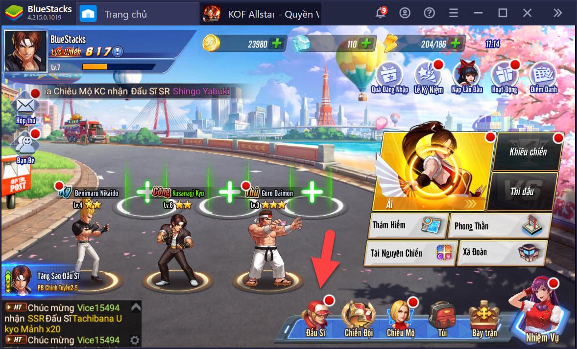 Hướng dẫn chiêu mộ, nâng cấp đấu sĩ khi chơi KOF AllStar – Quyền Vương Chiến