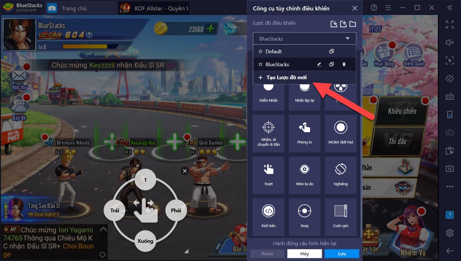 Hướng dẫn Chơi KOF AllStar – Quyền Vương Chiến trên PC với tính năng Game Controls