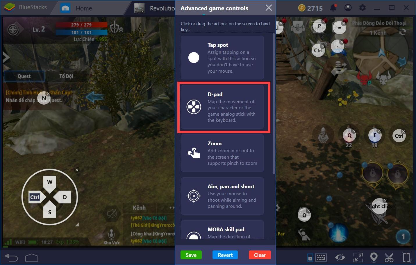 Hướng dẫn thiết lập Game controls khi chơi Lineage 2 Revolution với BlueStacks 4