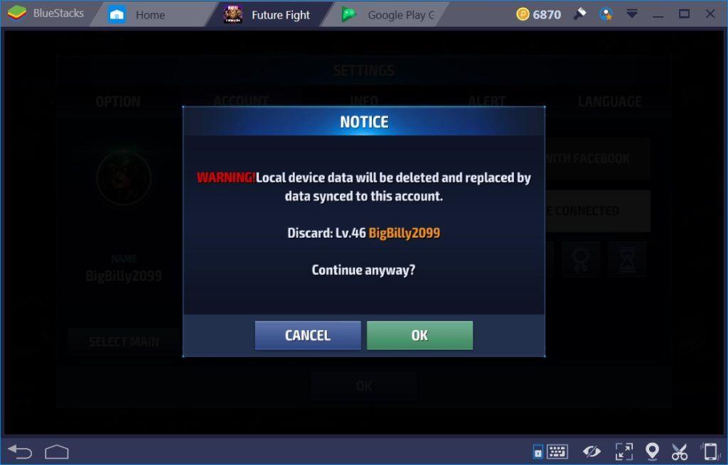 MARVEL 퓨처파이트: BlueStacks 플레이 시 계정 전환 가이드