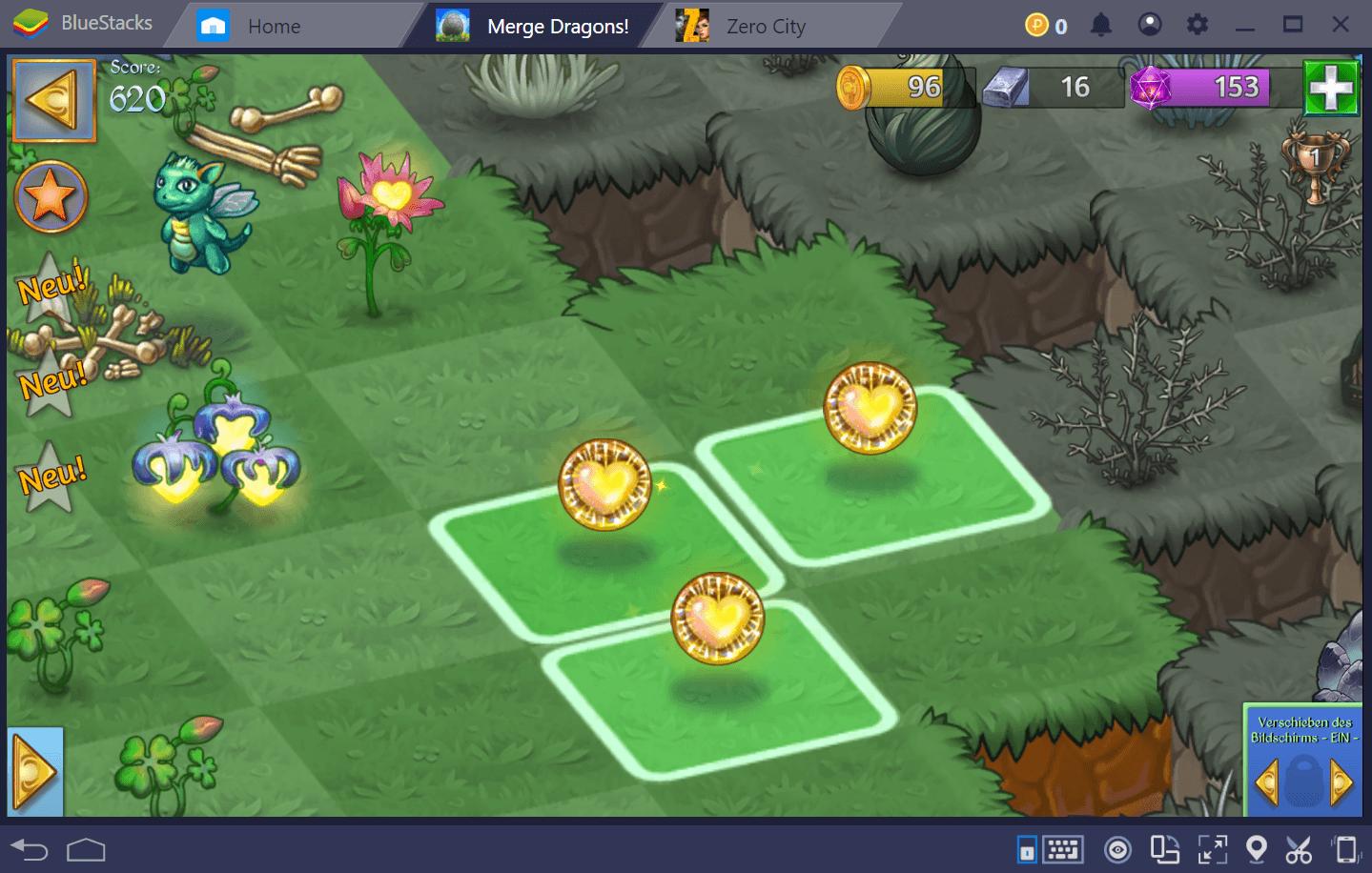 Merge Dragons ist das Kombinationsspiel, mit dem du von Level zu Level verschiedene Objekte zusammenfügst, verschiedene Lösungen erstellst und dem von den Zomblins geschändeten Land wieder Leben einhauchst. In diesem Sinne wirst du, wie in unserem Artikel über die Tipps und Tricks für dieses Spiel erwähnt, die meiste Zeit damit verbringen, an verschiedenen Spielteilen zu basteln und mit ihnen zu experimentieren, um bei der ständig wiederholten Kombination auf Neues und Interessantes zu stoßen. [screenshot01] [screenshot02] Im Gegensatz zu anderen Kombinationsspielen wie Pokopang oder Candy Crush, bei denen du Objekte auf dem Brett zerstören musst, bis du das Ziel erreichst, führt das Kombinieren in Merge Dragons niemals zur Zerstörung der Objekte auf dem Brett, sondern bringt, im Gegenteil, neue Kreationen hervor. Diese Kreationen erfüllen, sobald sie aktiviert sind, verschiedene Funktionen, z. B. das Land wiederzubeleben oder, wenn sie von deinen Drachenhelfern geerntet werden, wieder neue Objekte zu produzieren, die wiederum kombiniert werden können, und so weiter. In diesem Sinne ist dieses Spiel praktisch unendlich. Wenn du mit verschiedenen Objekten experimentierst, wirst du neue Kombinationsketten entdecken, die dir helfen, neue Spielaspekte freizuschalten oder andere Vorteile zu erhalten. Wie können wir jedoch in einem Spiel, in dem buchstäblich Hunderte von Gegenständen zum Herumspielen zur Verfügung stehen, feststellen, welche man kombinieren und welche man ins Lager schaffen sollte? [screenshot03] Dies sind die Themen, die wir heute in diesem Guide behandeln werden. Bevor wir uns jedoch mit dem Kombinieren befassen, möchten wir kurz auf das Lager eingehen. Was ist das Lager? Immer wenn du in Merge Dragons nicht damit beschäftigt bist, Level zu schaffen, unterhältst du dich wahrscheinlich in deinem Lager. [screenshot04] Das Lager ist eine Funktion, die du sehr früh im Spiel freischaltest – wenn du das zweite Level abgeschlossen hast – und in dem alle Belohn
