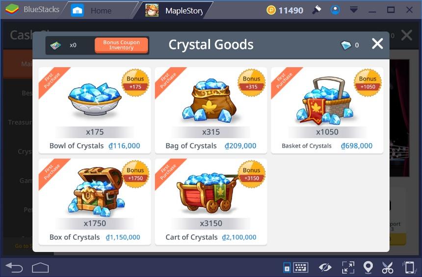 《楓之谷M》購買水晶和各種組合包之說明