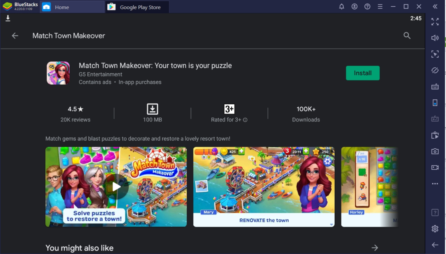 Play Match Town Makeover on PC with BlueStacks