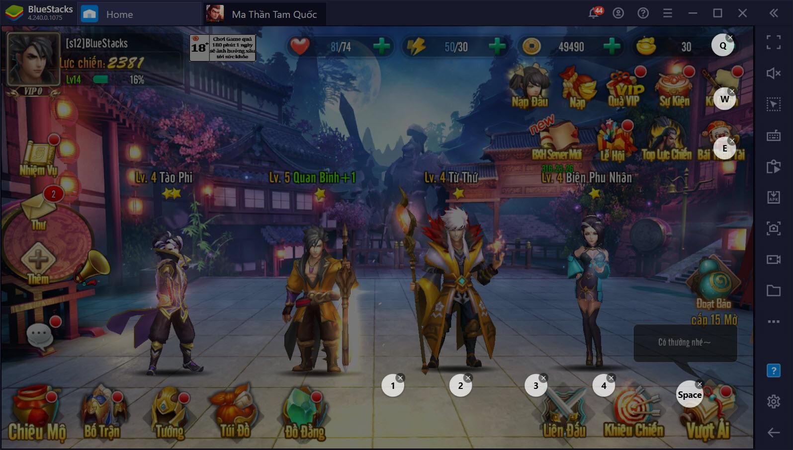 Ma Thần Tam Quốc:  Cách lên cấp nhanh trong server mới