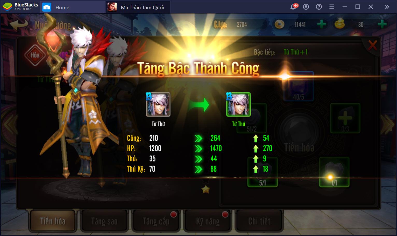 Cách nâng cấp, gia tăng hạng và chiêu mộ tướng trong Ma Thần Tam Quốc
