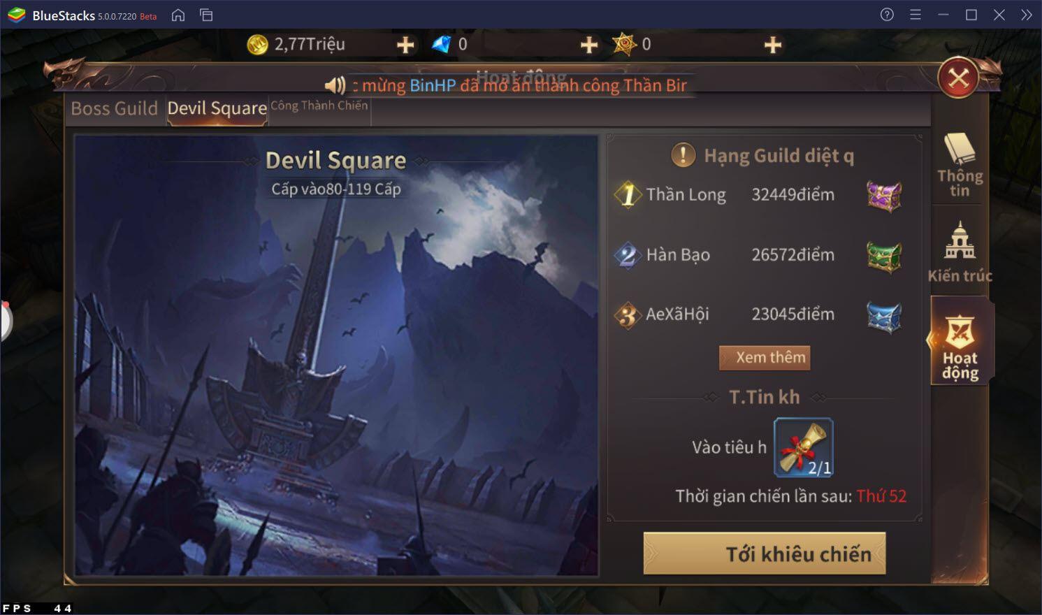 Hướng dẫn đi Blood Castle và Devil Square trong MU: Vượt Thời Đại