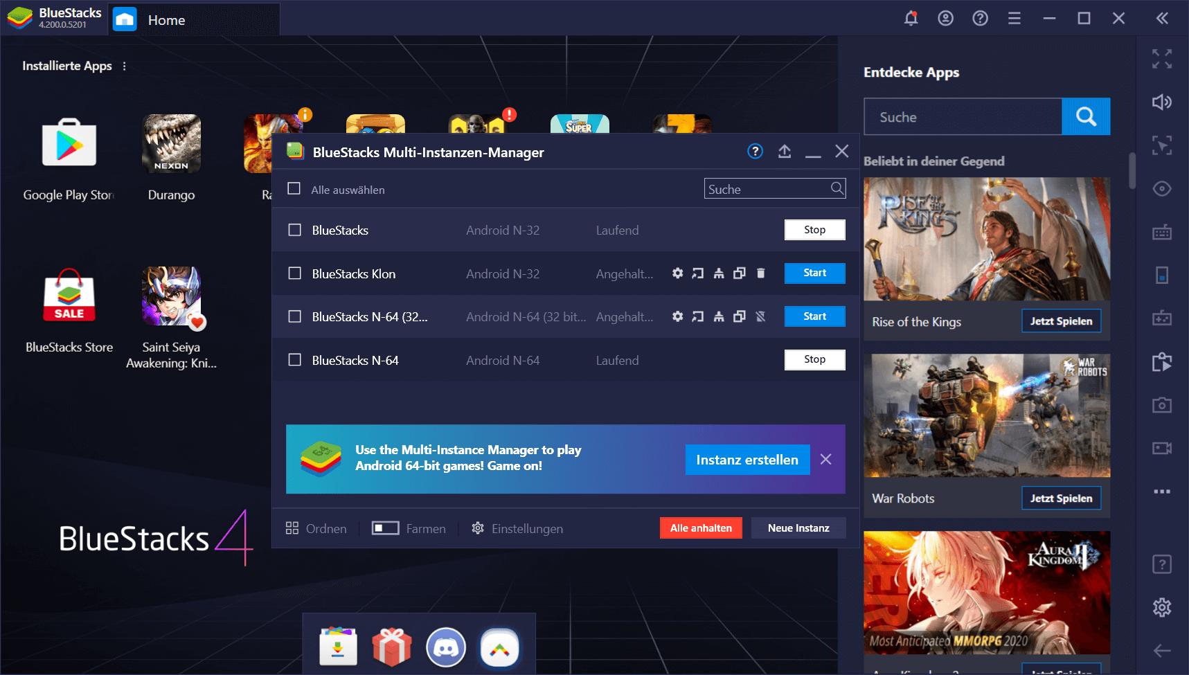 BlueStacks Version 4.200 – Spiele sowohl 64-Bit- als auch 32-Bit-Android-Spiele im selben Client