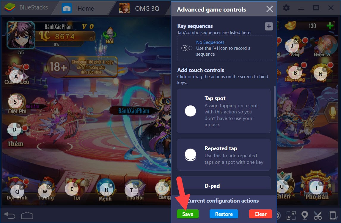 Thiết lập Game Controls khi chơi OMG 3Q với BlueStacks