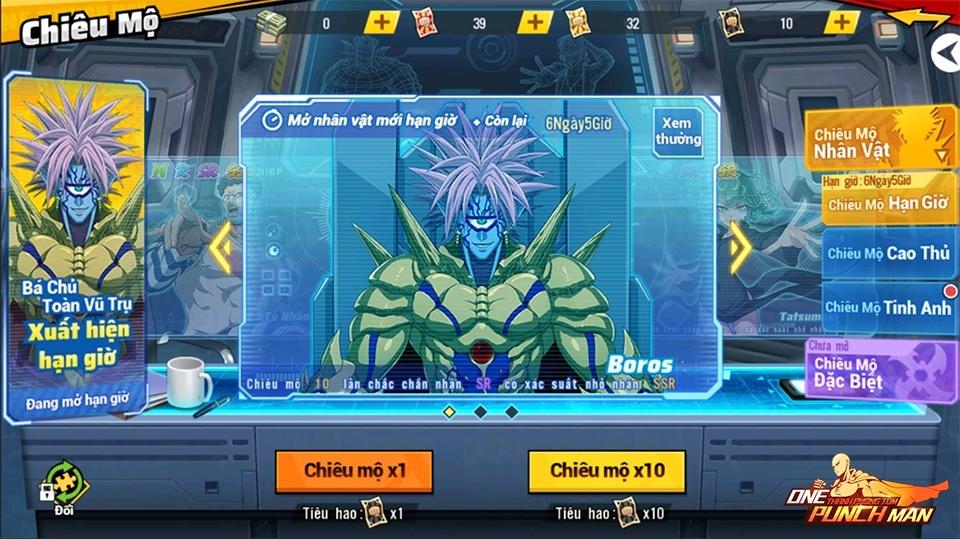 One Punch Man: The Strongest – Sự kiện chiêu mộ siêu ác nhân SSR Boros
