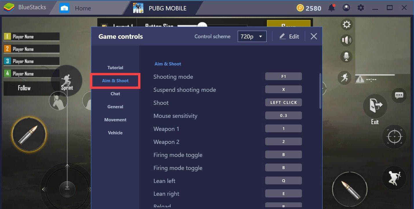 Hướng dẫn thiết lập Game controls khi chơi PUBG Mobile với BlueStacks 4