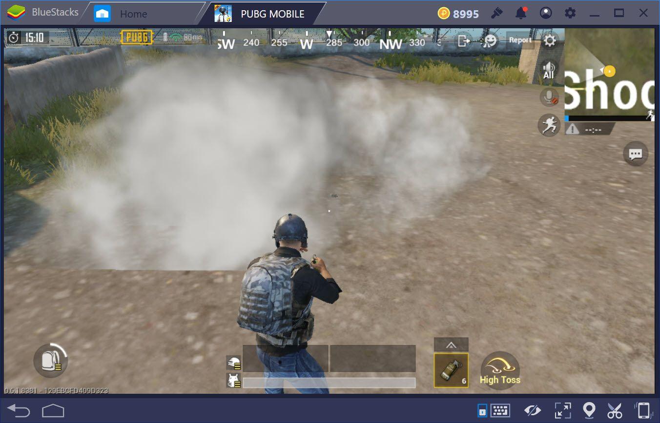 Sửa lỗi ném Smoke Grenade nhưng không hiện khói trong PUBG Mobile trên BlueStacks