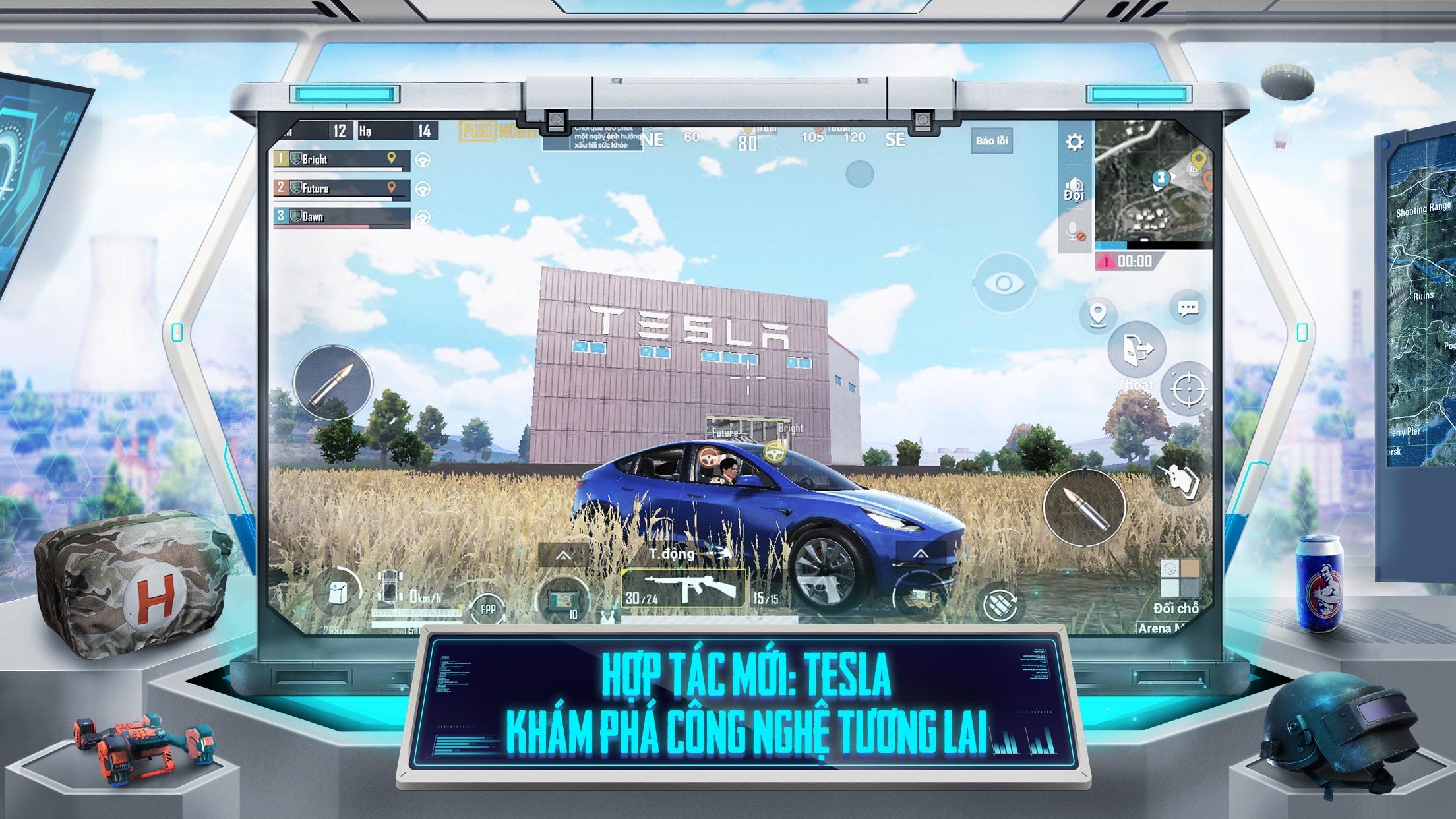 PUBG Mobile cập nhật bản 1.5, đưa xe điện Tesla vào game