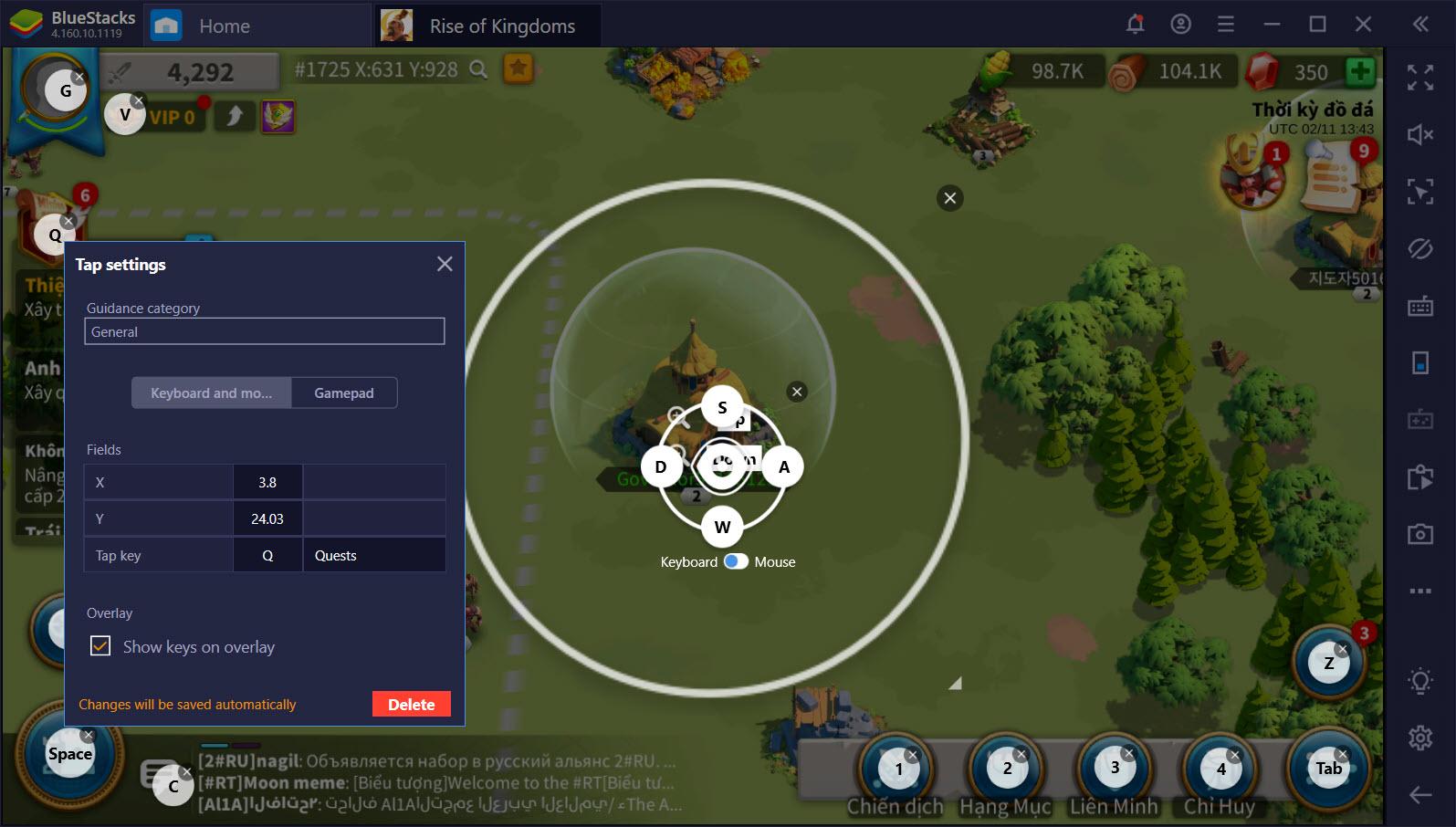 Tối ưu Rise of Kingdoms với thiết lập Game Controls trên BlueStacks