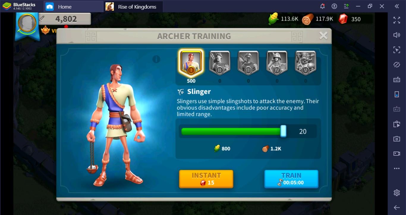 พลทหารพื้นฐาน Rise of Kingdoms มีแบบไหนบ้าง Status เป็นอย่างไรมาดูกัน