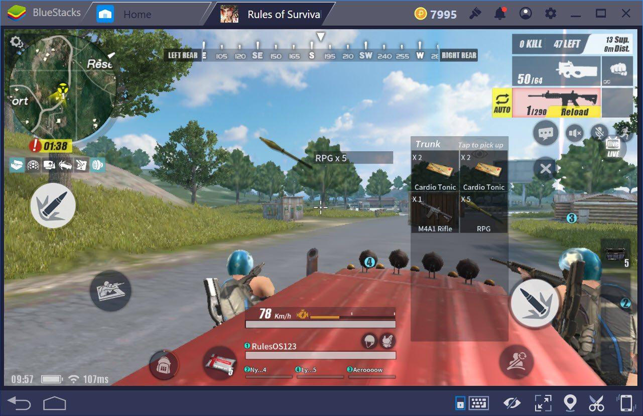 Cách lái máy bay trong chế độ bắn súng đua xe trong Rules of Survival