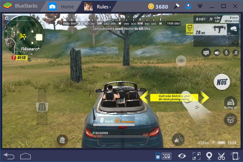 Cách lái xe trong Rules of Survival khi chơi trên BlueStacks