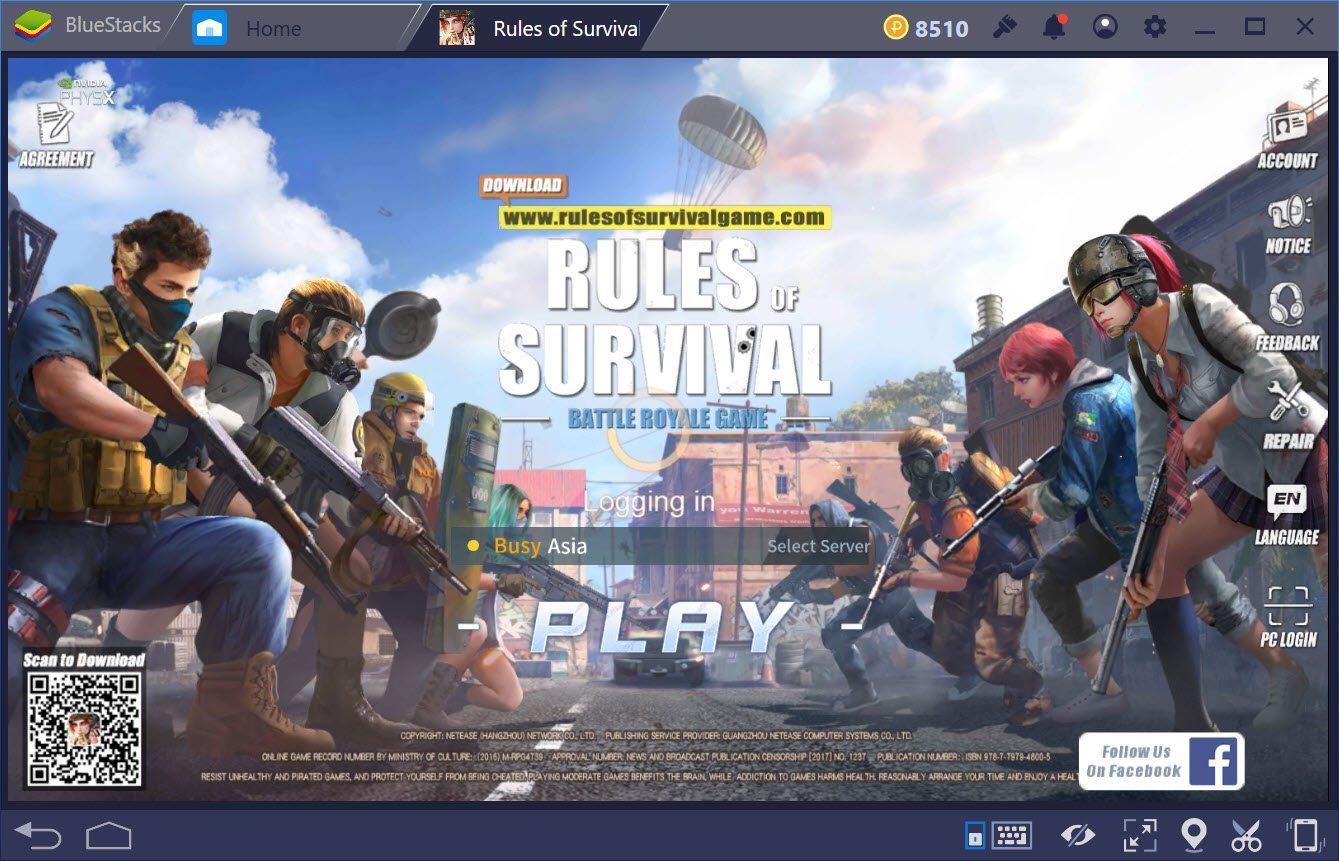 Hướng dẫn liên kết tài khoản Facebook, chuyển đổi tài khoản Rules of Survival trên BlueStacks