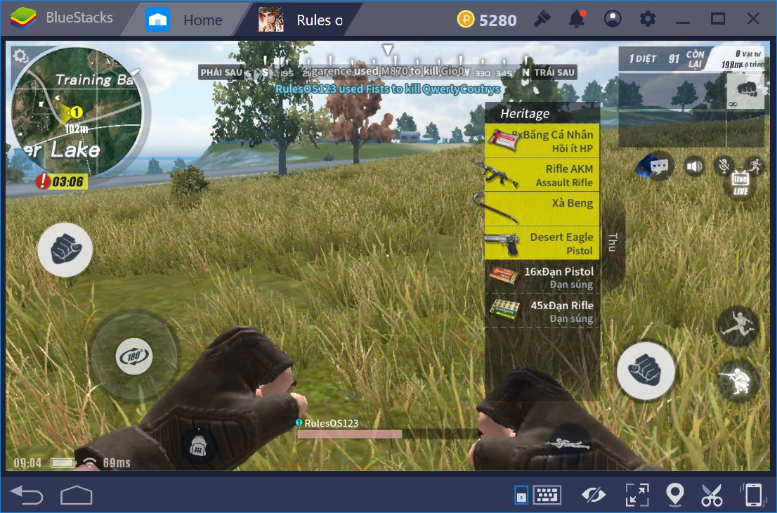 Cách chơi Rules of Survival chế độ FPS với BlueStacks trên PC