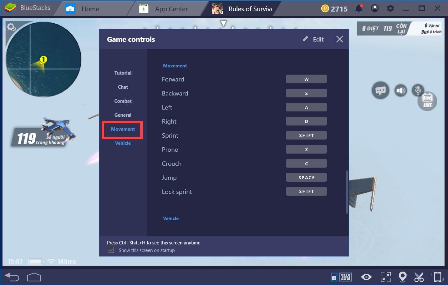 Hướng dẫn thiết lập Game controls khi chơi Rules of Survival với BlueStacks 4