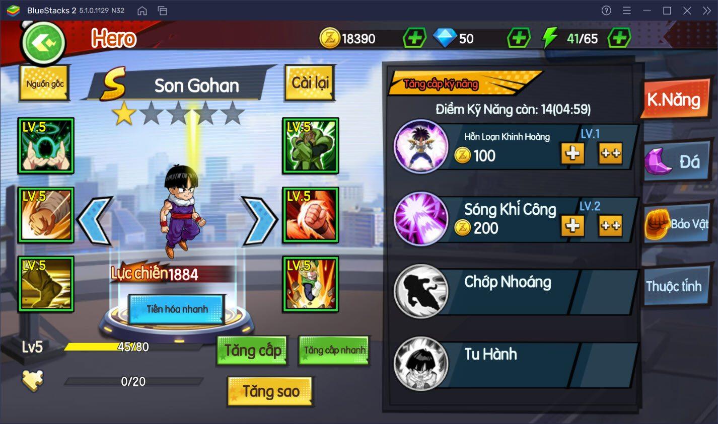 Chơi Rồng Thần Huyền Thoại trên PC: Hướng dẫn nâng cấp nhân vật