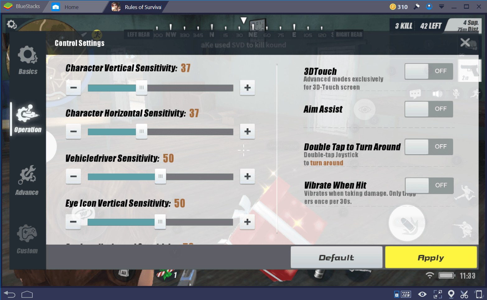rules of Survival Sensitivity Controls