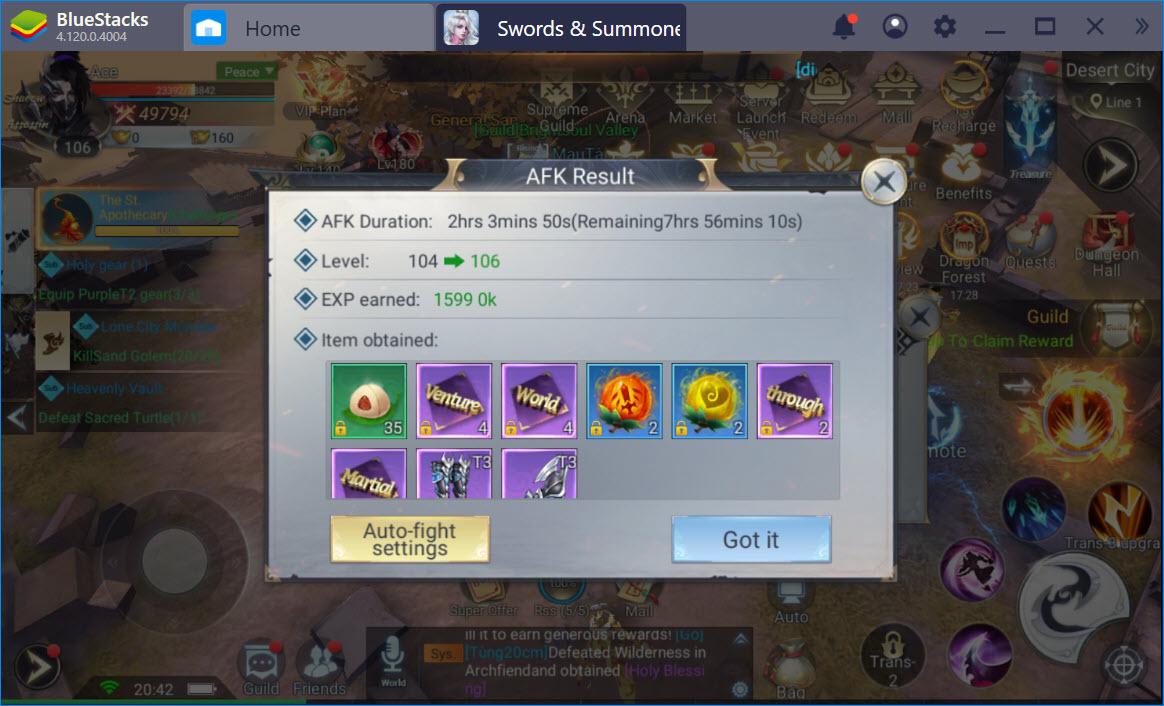 Làm thế nào để đạt đến cấp 100 trong Swords & Summoners?