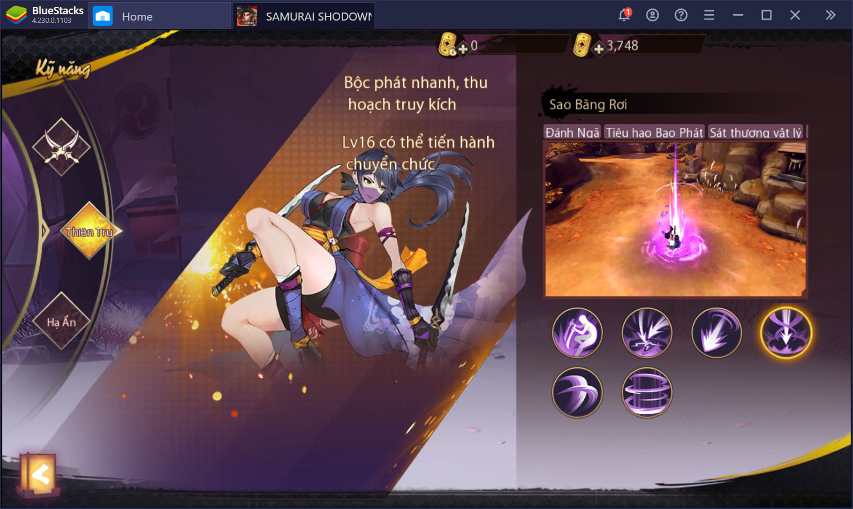SAMURAI SHODOWN: The Legend of Samurai: Những lưu ý về nâng cấp kỹ năng và trang bị