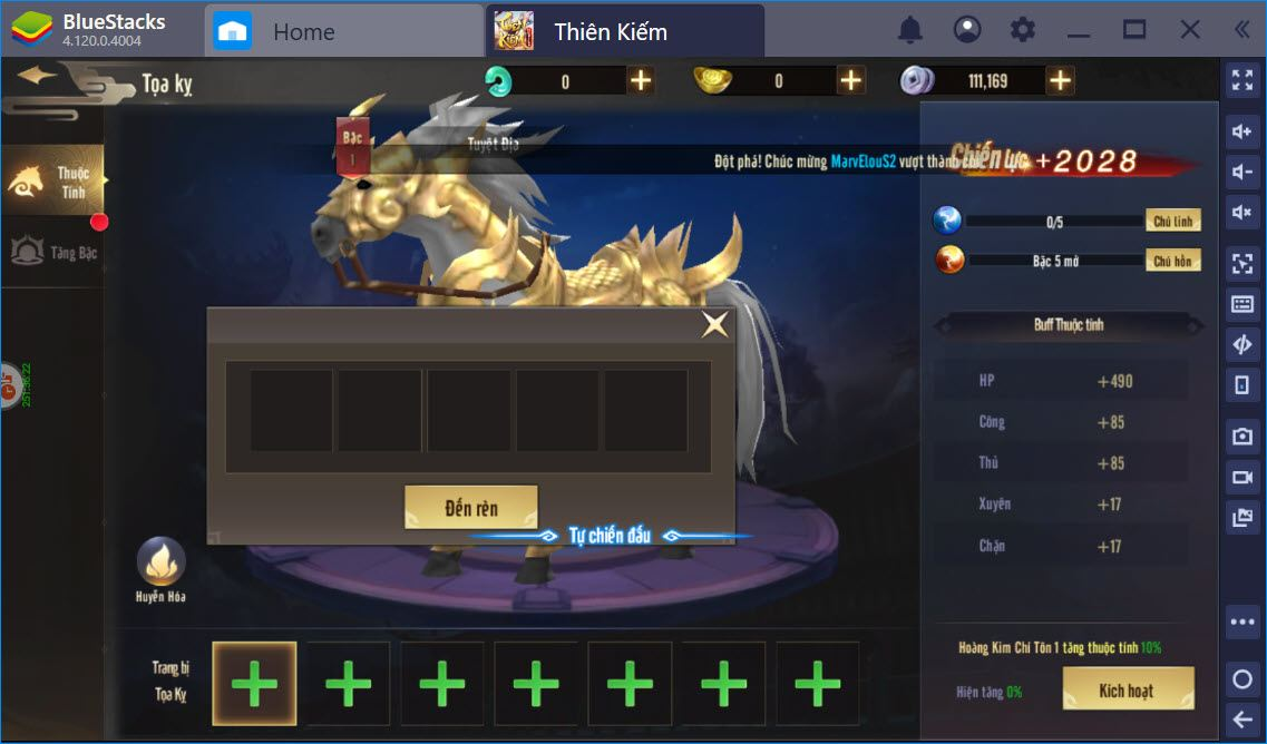 Tổng quát nâng cấp nhân vật trong Thiên Kiếm Mobile