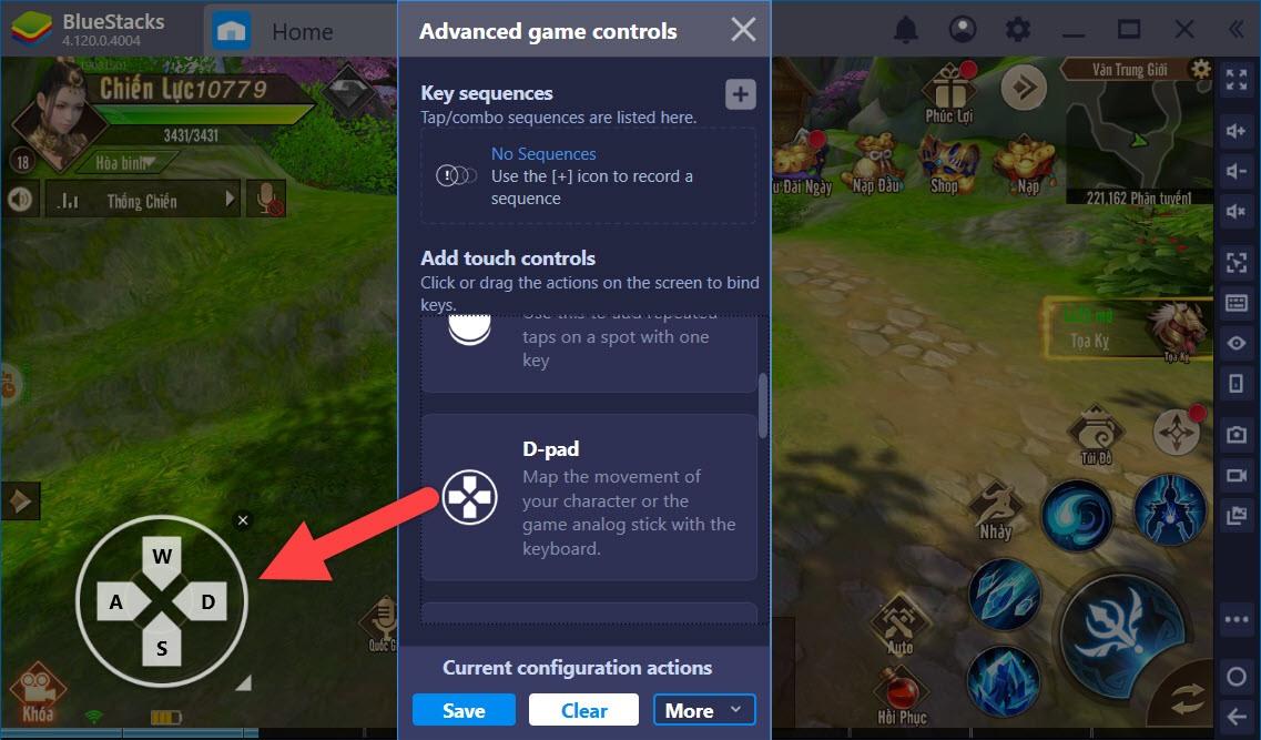 Sử dụng Game Controls khi chơi Thiên Kiếm Mobile