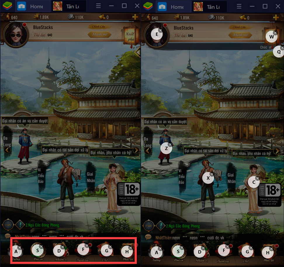 Tân Lộc Đỉnh Ký: Thiết lập Game Controls khi chơi bằng BlueStacks