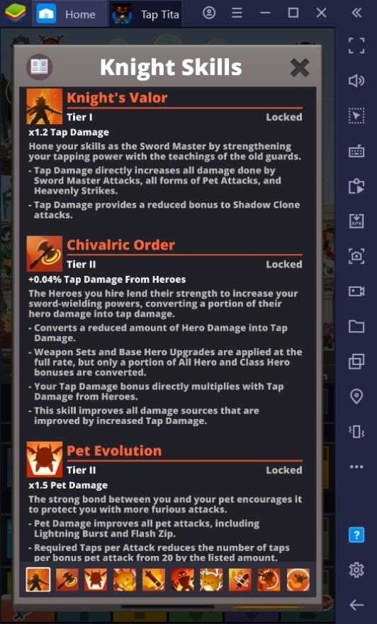 دليل لاختيار شجرة المهارات الصحيحة في لعبة Tap Titans 2
