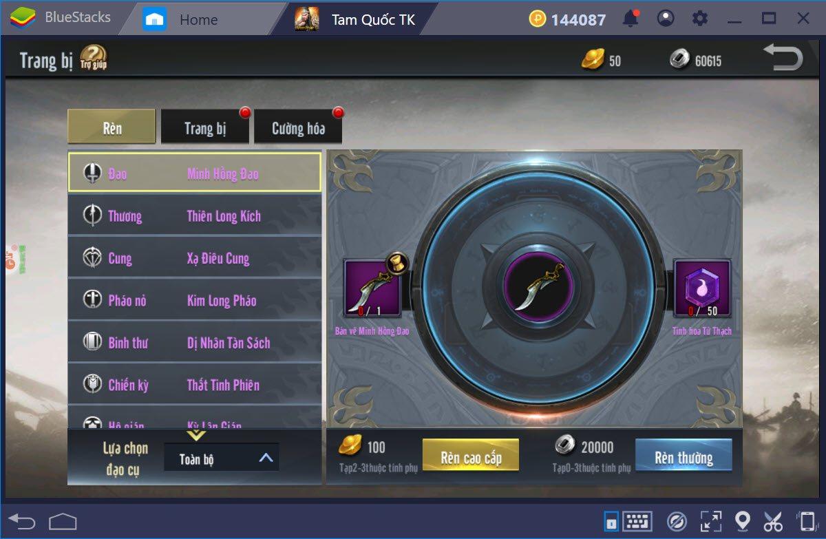 Tam Quốc Truyền Kỳ Mobile: Cách thăng cấp nhân vật, chế đồ và cường hóa đồ