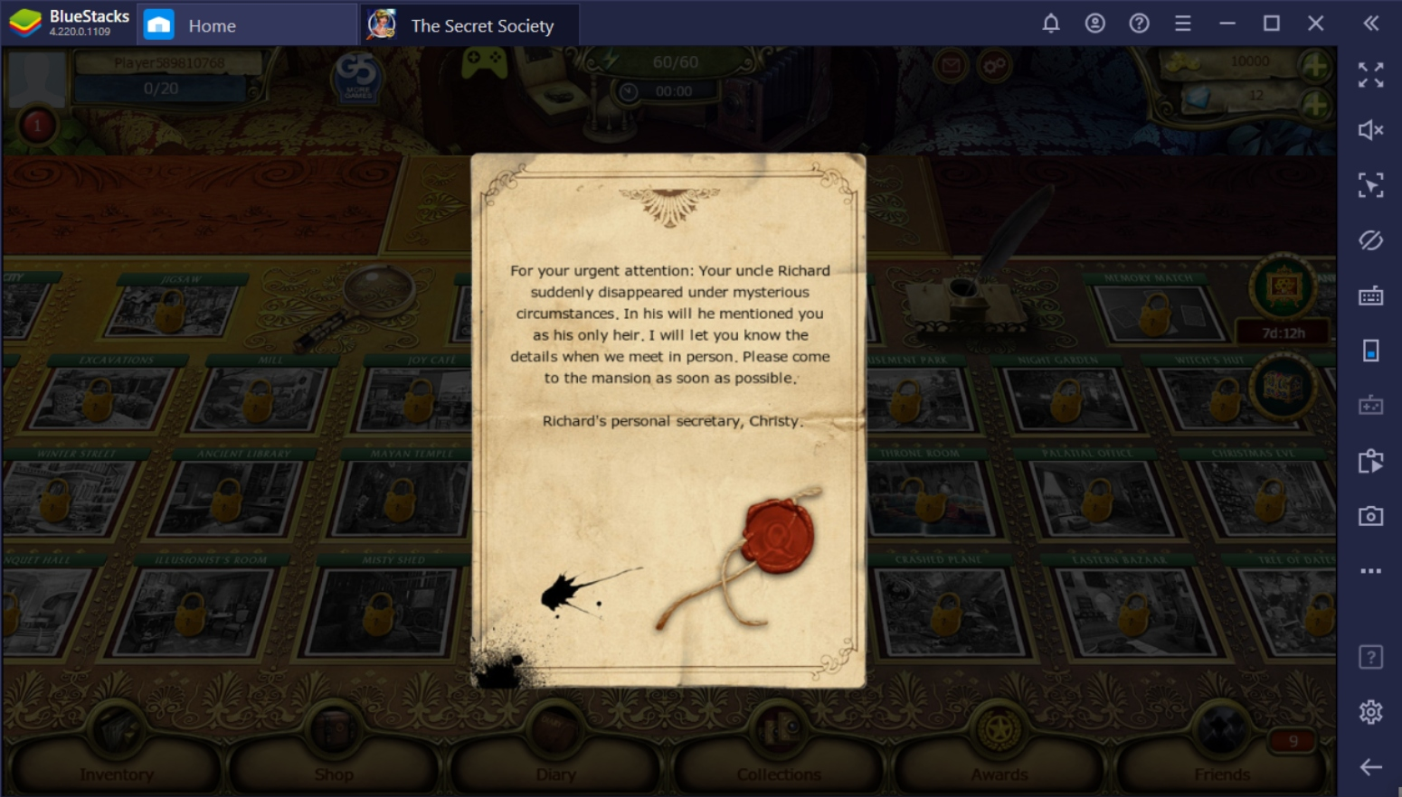 Installing the Secret Society on PC with BlueStacks
