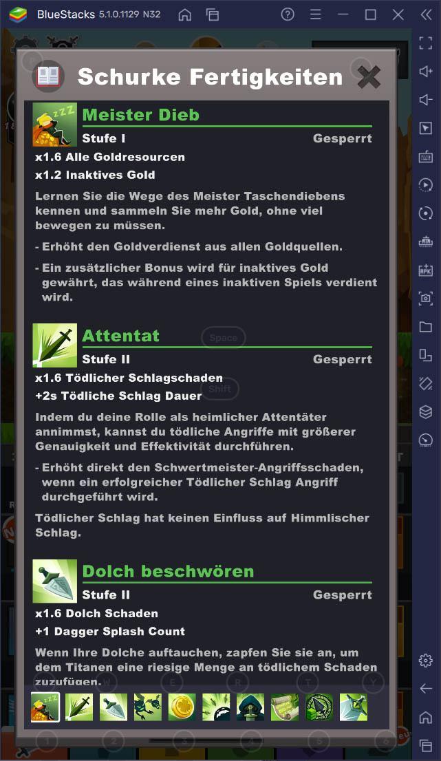 Anleitung zur Auswahl des richtigen Fertigkeitsbaums in Tap Titans 2