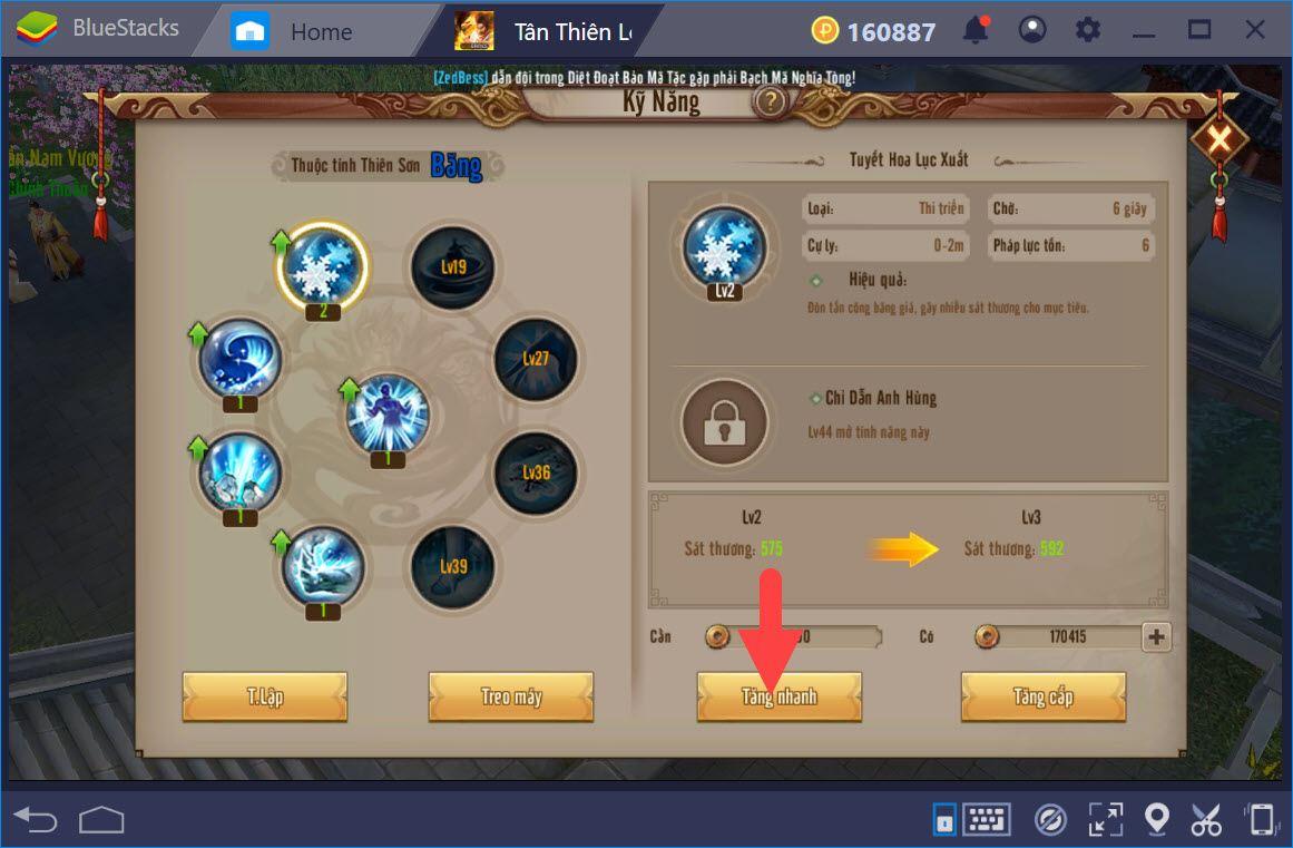 Cách nâng cấp kỹ năng, nâng cấp trang bị trong Tân Thiên Long Mobile