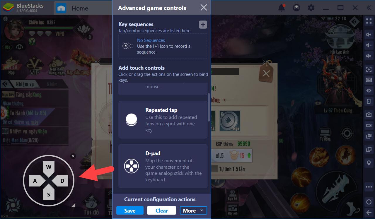 Thiết lập Game Controls, tối ưu PVP khi chơi Tinh Vân Kiếm