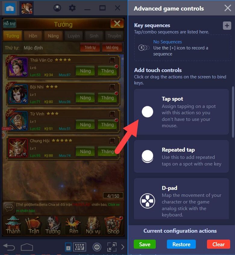 Hướng dẫn thiết lập Game Controls khi chơi Vua Tam Quốc bằng BlueStacks