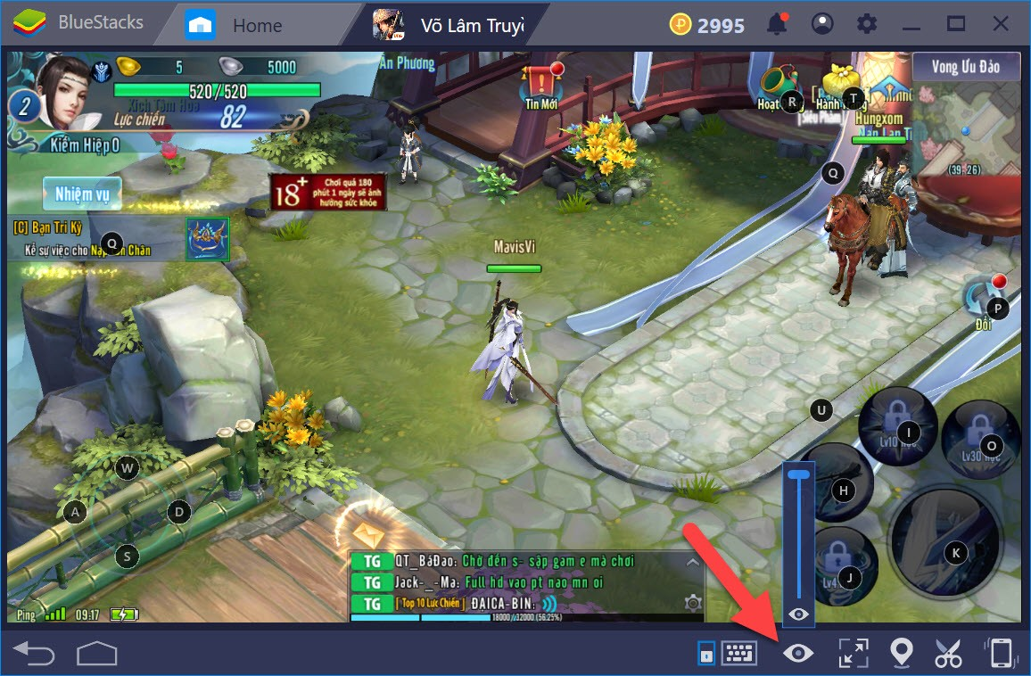 Hướng dẫn thiết lập Game controls khi chơi Võ Lâm Truyền Kỳ Mobile với BlueStacks 4