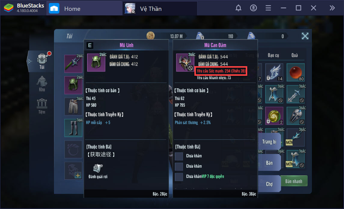 Cách tăng chỉ số nhân vật, nâng cấp trang bị, kỹ năng trong Vệ Thần Mobile